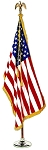 COLONIAL NYL-GLO U.S. FLAG SETS - Flag with Fringe, Pole, base (assorted sizes)